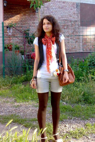 blue denim jeans vest - brown tights - orange scarf - beige shorts
