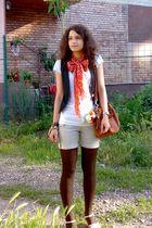 blue denim jeans vest - brown tights - orange scarf - beige shorts