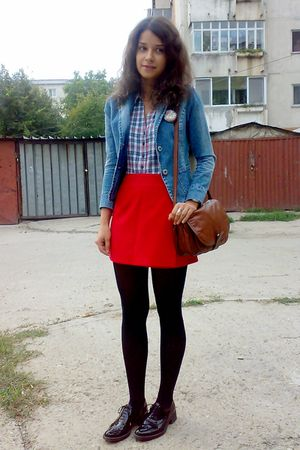 blue H&M shirt - red Orsay skirt - blue jacket - black Mondex tights - brown pur