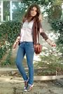 Pink-esprit-shirt-brown-cardigan-blue-jeans-brown-purse-brown-zinda-buy-
