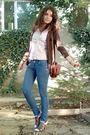 Pink-esprit-shirt-brown-cardigan-blue-jeans-brown-purse-brown-zinda-buy-