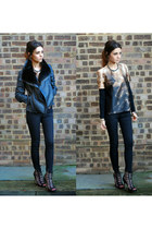camel Topshop t-shirt - black Topshop jeans - black vintage jacket