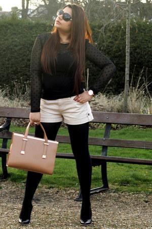 tan ted baker bag - off white Forever 21 shorts - black Jimmy Choo sunglasses