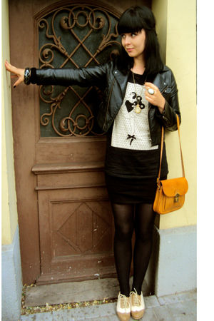black H&amp;M jacket - gold vintage bag - black Stradivarius blouse