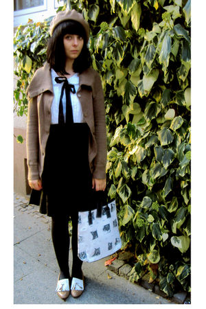 brown shoes - white bag - white Atmosphere dress - brown H&M cardigan - brown H&