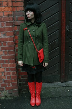 dark green F&F coat - red Rylko shoes - black Vero Moda dress - red vintage bag