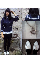blue Zara cardigan - white Betty Blue shoes - silver c&a necklace