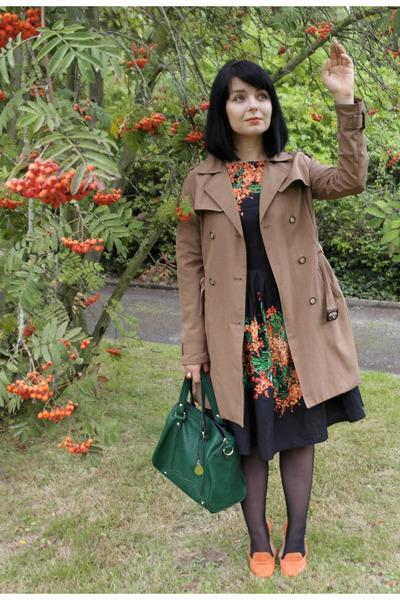 light brown trench coat Zara coat - black rowan printed oodij dress