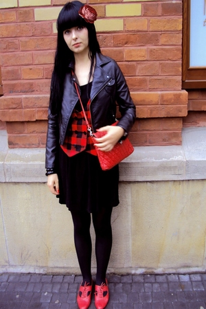 red office london shoes - red H&M vest - black Topshop dress - black H&M jacket