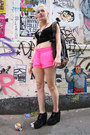 Hot-pink-workout-h-m-shorts-black-platforms-new-look-shoes