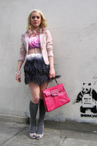 light pink tweed H&M blazer - hot pink faux leather Guess bag