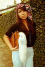 Asos-scarf-tawny-satchel-asos-bag-black-asos-t-shirt-light-blue-staple-pan