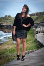 black fox tail Ebay accessories - black leather vintage skirt - black American A