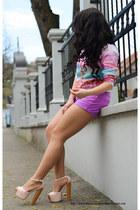 light pink comfy Choies shirt - pink comfy New Yorker shorts