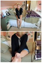 black brandy melville hoodie - dark khaki worn toms TOMS shoes