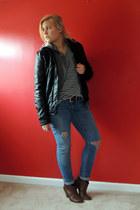 ripped Levis jeans - black pleather xhiliration jacket
