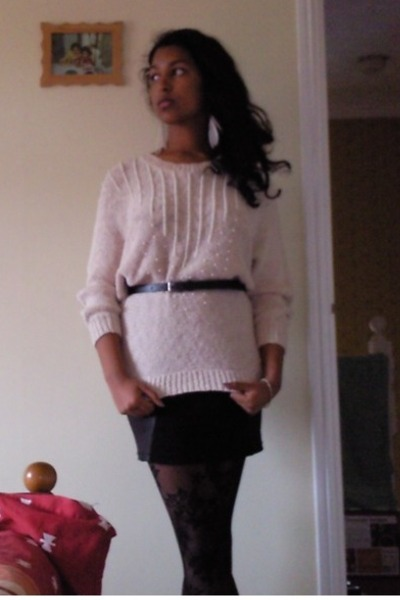 pink H&M - black Primark belt - black H&M skirt - black Zara tights