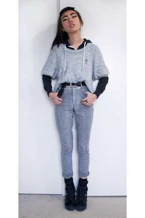 jeans - distressed DIY orig from H&M sweater - plain hoodie