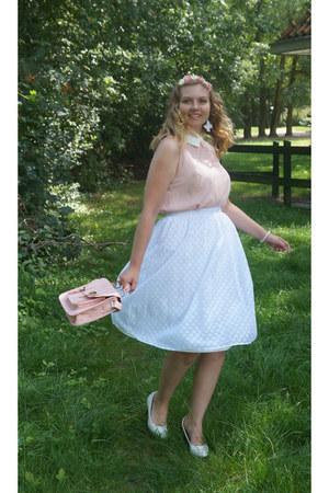 white midi skirt - white pumps - light pink blouse - light pink hair accessory