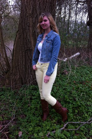 blue jacket - brown boots - light yellow denim jeans - white top