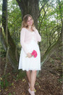 Light-pink-cardigan-white-midi-skirt-light-pink-pumps