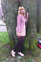 pink blazer - dark brown tights - camel wedges - cream lace top - camel skirt