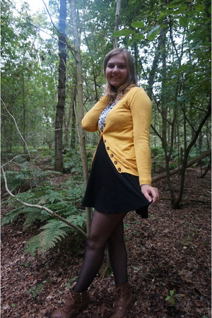 white butterfly blouse - brown boots - black skirt - gold cardigan