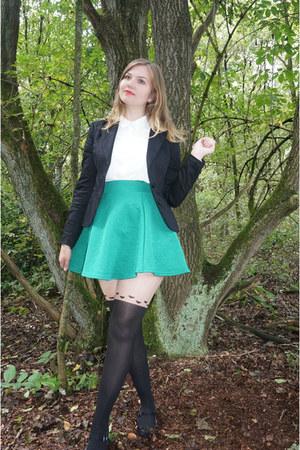 green skirt - black blazer - black heart tights - white blouse - black pumps