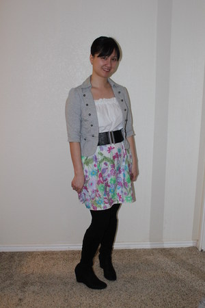 rosette jacket - Madeline boots - Forever 21 dress - Forever 21 tights