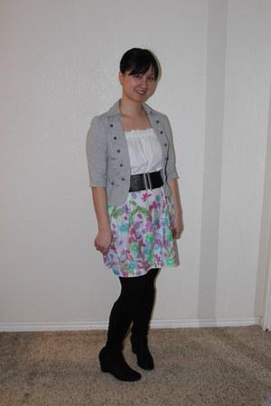 rosette jacket - Madeline boots - Forever 21 dress - Forever 21 tights
