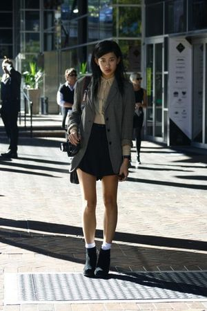Max Mara blazer - beige American Apparel shirt - black Carven shorts - black Jef