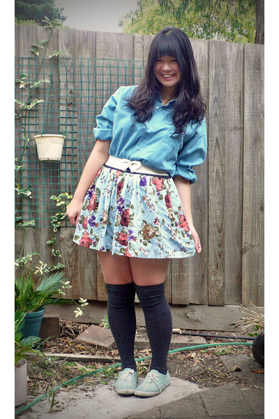 blue guoya shirt - blue Dotti skirt - white unknown belt - gray unknown socks -