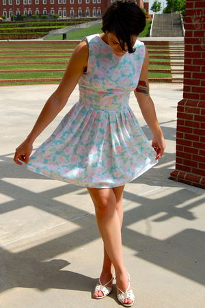 blue Repurposed by Sally Ann dress - beige Hush Puppies shoes