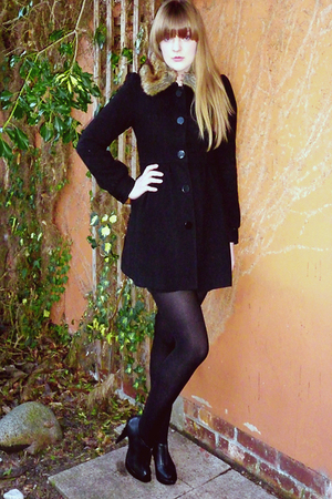 black new look shoes - black H&M coat - black tights