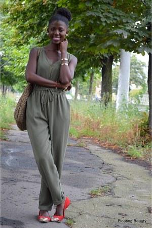 brown Marisa bag - army green Primark romper - red Dakota flats