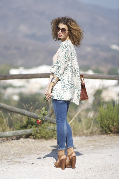 kimono H&amp;M blouse - H&amp;M jeans - vintage bag - Zara heels - Zara belt
