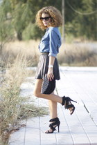 black Zara skirt - white H&M shirt - black Zara heels