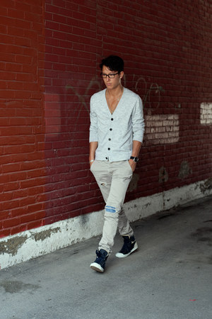 acne cardigan - Dr Denim pants - YSL Yves Saint Laurent sneakers