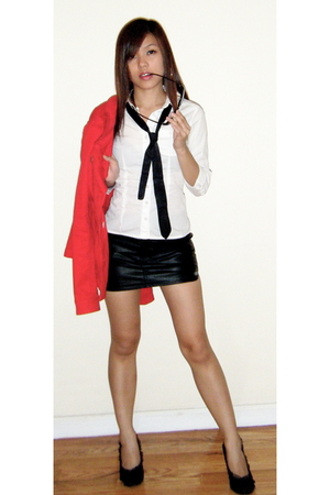 red H&amp;M coat - black satin and lace wild diva shoes