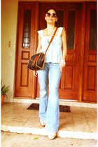 light blue denim jeans - navy dooney bourke purse