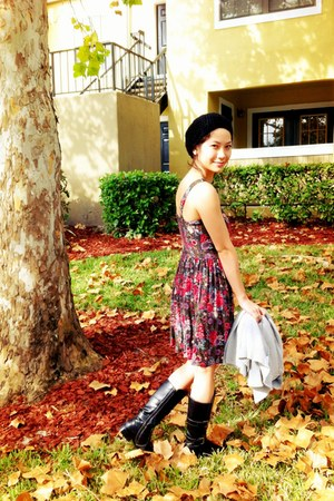 magenta dress - black Old Navy boots - black handmade hat