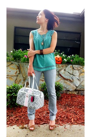turquoise blue Forever 21 top - heather gray banana republic jeans