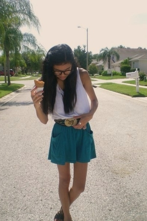 Gap top - aa skirt - Goodwill belt - urbanoutfitters glasses