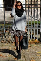 heather gray New Yorker sweater - black H&M bag - bubble gum Tally Weijl skirt