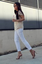 white Stradivarius pants - nude Zara sandals - beige Sheinside top