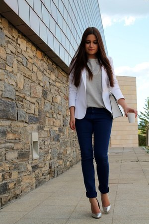 white Zara blazer - white Zara bag