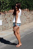 white Zara top - Primark bag - Zara shorts