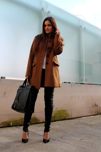 dark brown H&M coat - white Zara top