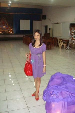 purple dress - red shoes