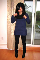 black Forever21 scarf - blue Zara sweater - black Nine West pants